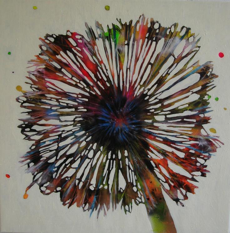 Oil and spray on canvas  100x100 cm