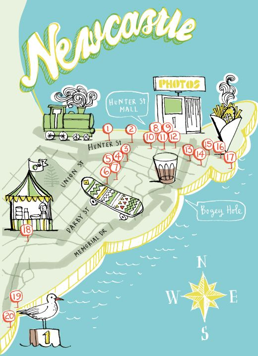 AMAZING custom illustrated map by the stupendously talented Kat Chadwick – IMMENSE thanks to Kat!   Thanks also to Jeremy Wortsman / Jacky Winter for hooking this up!  'Newcastle' header based on Trevor Dickinson's 'Newcastle Productions' branding, supplied with his permission – thanks Trevor!