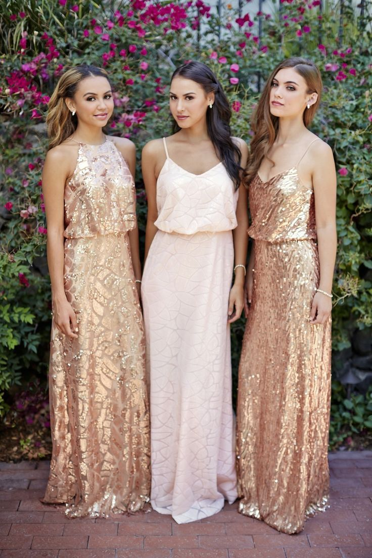 Let your bridesmaids sparkle and shine! Blush and rose gold sequin dresses by Donna Morgan: rent the Tiffany, Olive and Courtney dresses with Vow To Be Chic! Discover more bridesmaid dresses to rent at http://vowtobechic.com