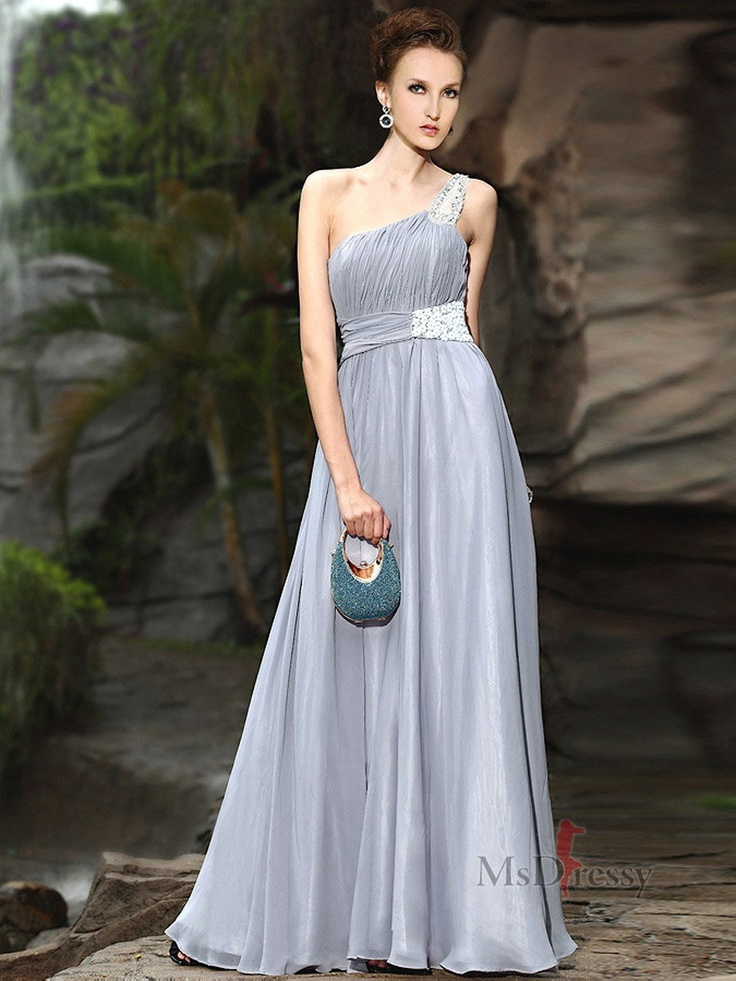 A-line One Shoulder Chiffon Evening Dress With Ruffles