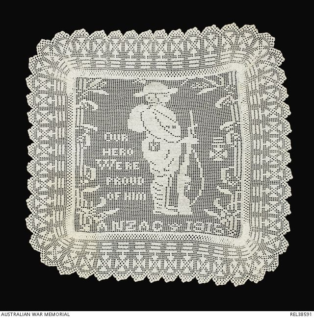 The famous Mary Card soldier design, commemorating the landing at Gallipoli. In 1917 or 1918 she designed a matching sailor pattern but this never reached the popularity of the soldier design.
