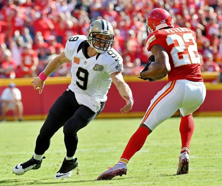 Saints vs. Chiefs  -  27-21, Chiefs  -  October 23, 2016:    New Orleans Saints quarterback Drew Brees misses on the tackle of Kansas City Chiefs cornerback Marcus Peters after picking up a fumble by Mark Ingram in the fourth quarter during Sunday's football game on October 23, 2016 at Arrowhead Stadium in Kansas City, Mo.