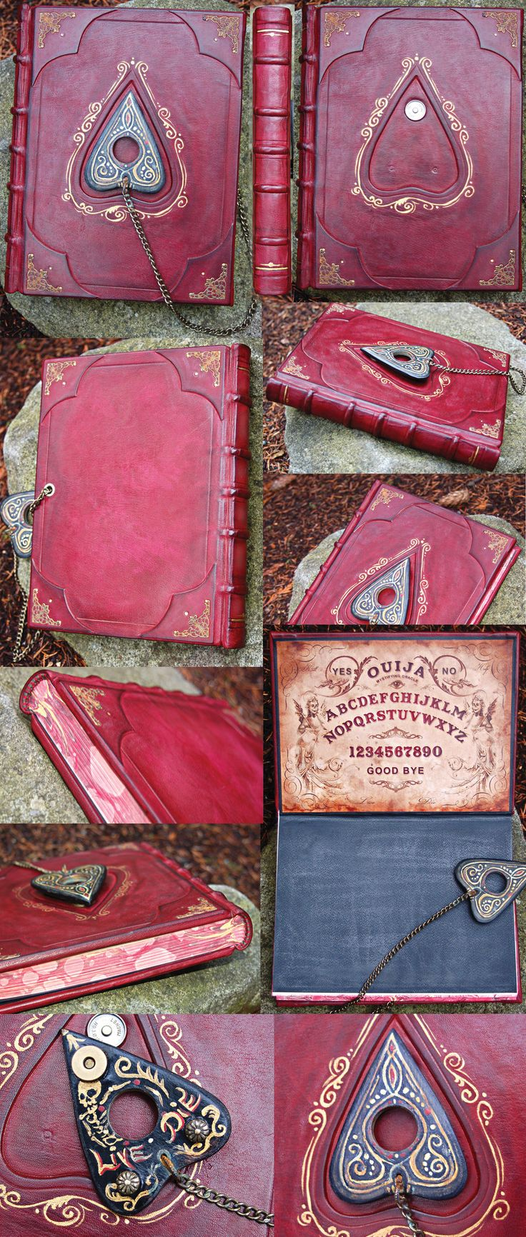 Victorian Ouija Board Spirit Jornal  	©2012 ~BCcreativity  This one took some time to create. Encased in a beautiful Italian goats leather hand tooled. I created a Planchette and designed a Ouija board that is on the inside cover.   The planchette is chained to the back cover and is connected on the front to a magnetic facet.  The text block is 8.5x11 and the finished size is 8.75x11.25  It contains marbled edge...