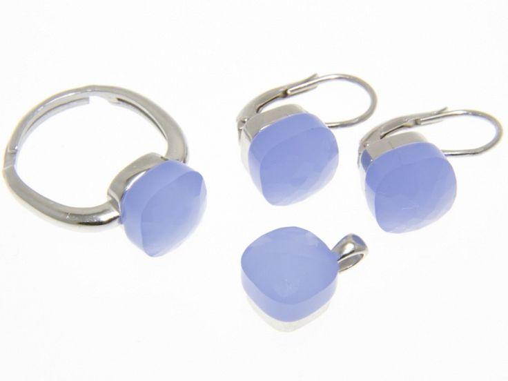 Kék Swarovski kristályos ezüst fülbevaló medál és gyűrű szett