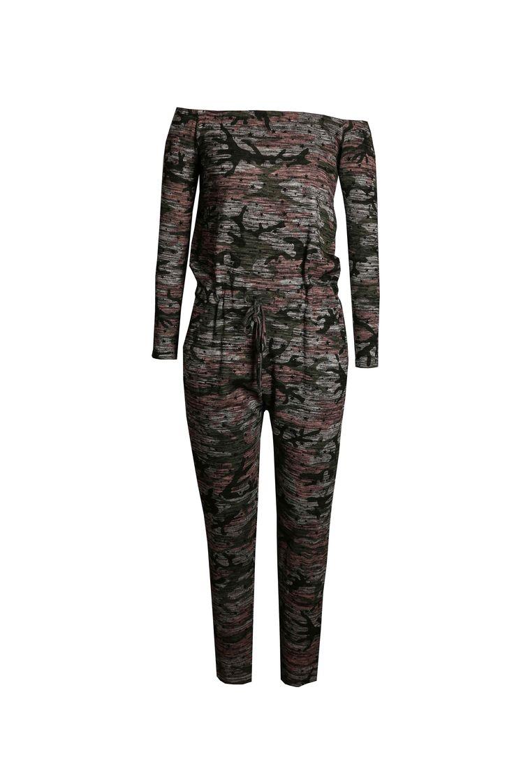 Kids Camouflage Star Bardot Jumpsuit