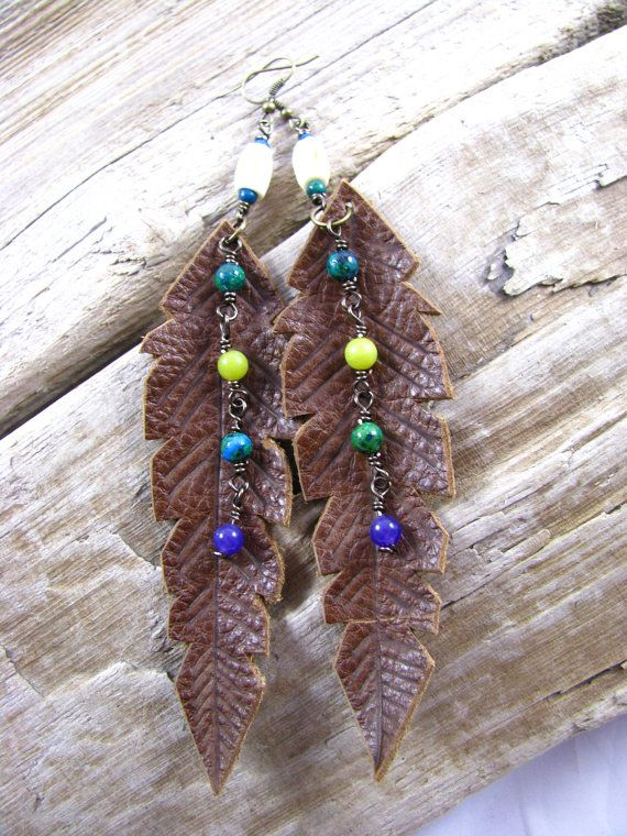 Leather Jewelry Leather Earrings Long Earrings by lillianschmoo