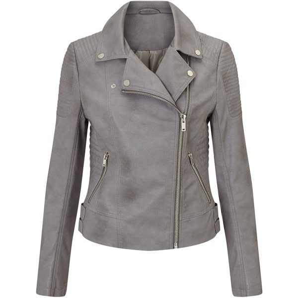Miss Selfridge Grey Faux Leather Biker (91 CAD) ❤ liked on Polyvore featuring outerwear, jackets, grey, women, grey jacket, gray jacket, moto biker jacket, vegan leather moto jacket and gray moto jacket