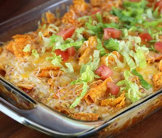 Dorito Chicken Casserole! - Make your mix (Chicken, Cream of Chicken, Salsa, Sour Cream, etc...)  Then layer with Doritos and bake.  So easy :)
