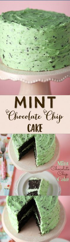 This Mint Chocolate Chip Cake is my most popular birthday cake! The frosting tastes just like Mint Chocolate Chip ice cream!! #DesertsFoodRecipes