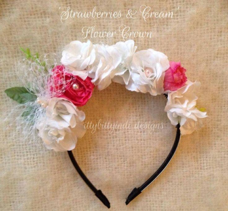 Strawberries & Cream Flower Crown www.facebook.com/ittybittyindidesigns