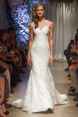 Embroidered trumpet style wedding dress with sweetheart neckline | Matthew Christopher Fall 2018