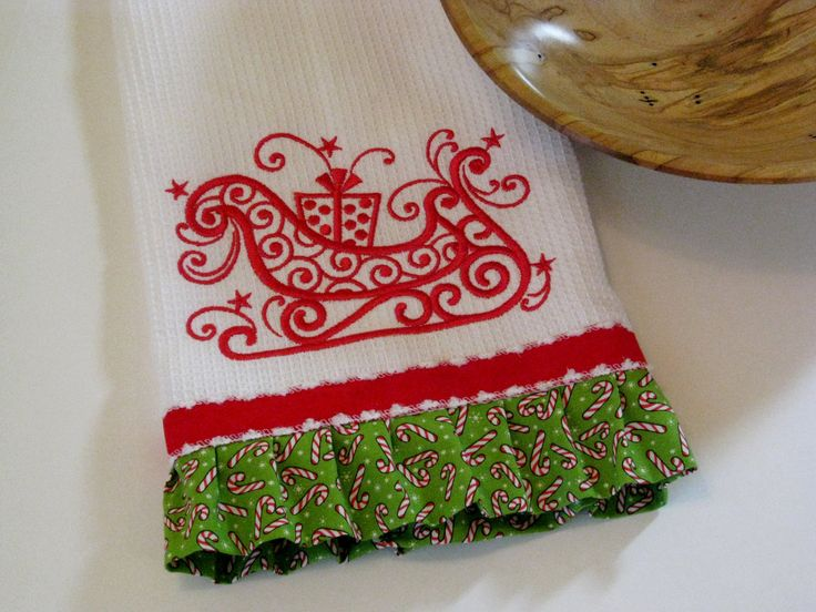 Embroidered Christmas Kitchen Towel Sleigh By KarensMonogramming 2000