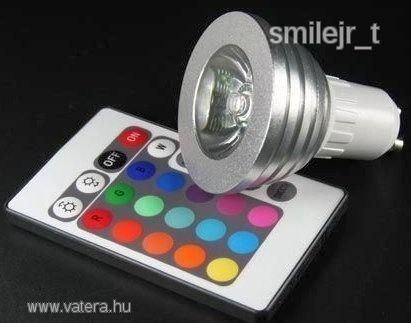 Spot RGB LED izzó  TÁVÍRÁNYÍTÓ GU10 E27 színváltós - 1590 Ft - Nézd meg Te is Vaterán - Izzó, led, égő - http://www.vatera.hu/item/view/?cod=1808551529