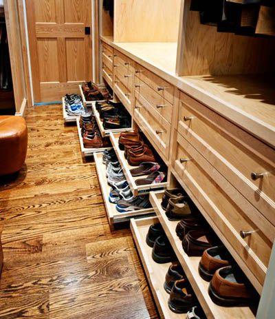Выдвижные полки для обуви без фасадов.