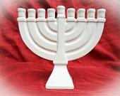 Ceramic Menorah Unpainted -9.25 inches wide-handmade, Hanukkah