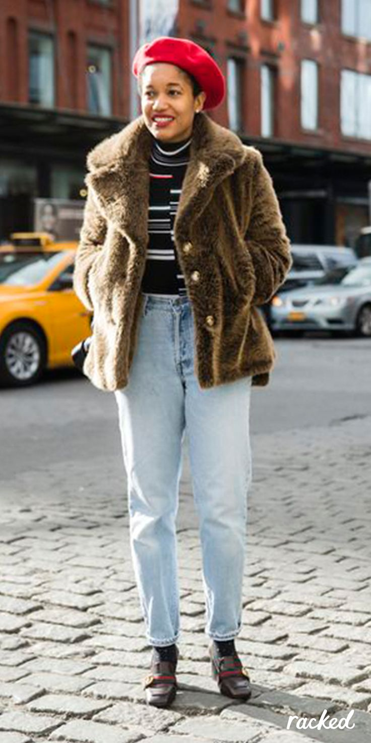 Tamu Mcpherson In A Red Beret Jeans And Cropped Brown Fur Coat At
