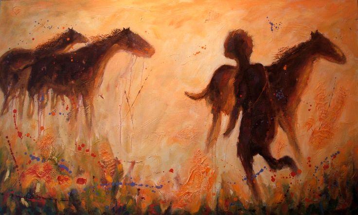 L'enfant et les chevaux acrylique sur toile   36 x 48po.  2013
