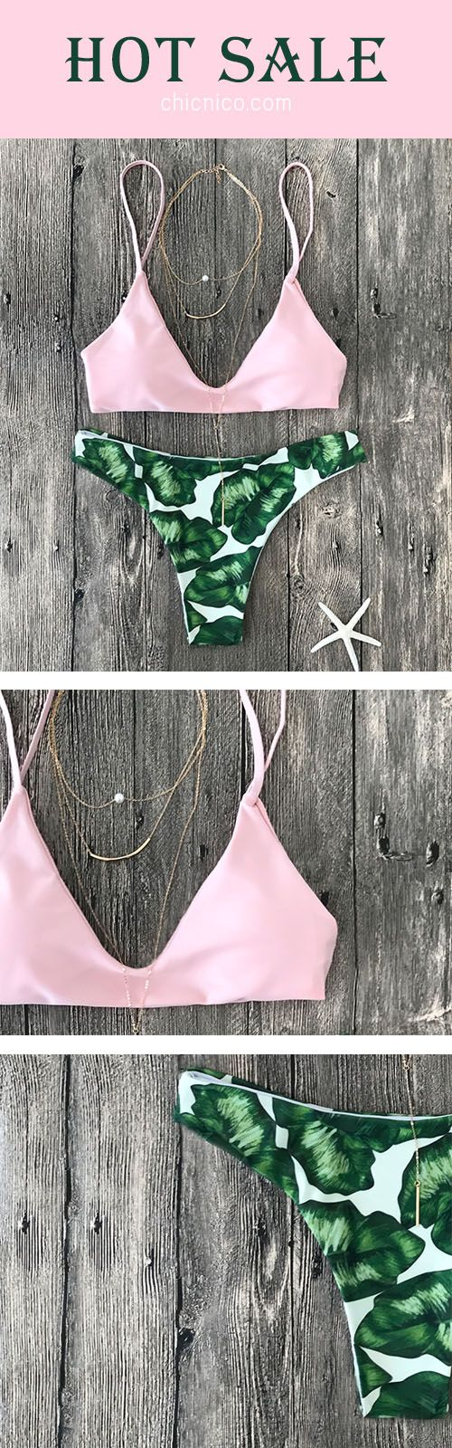 Hot sale & Free Shipping! Its the perfect go to bathing suit for style and comfort! ! Pink Up Leaf Print Halter Bikini Set