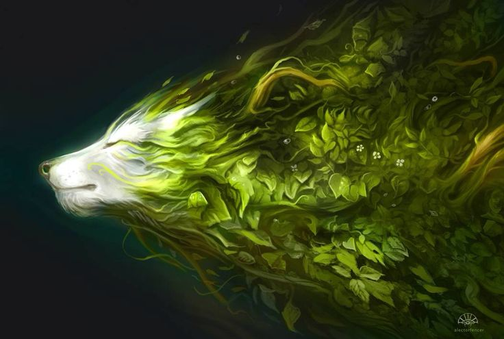 Wolf and Nature merge  Digital Drawing Fantasy Art Artist Unknown