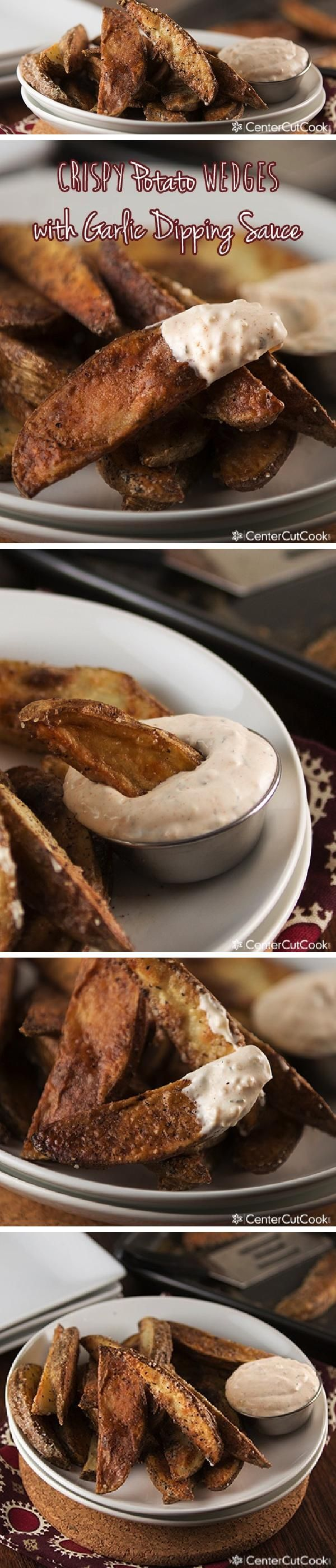 "CRISPY Baked POTATO WEDGES are perfectly seasoned then ""fried"" in the oven and served with GARLIC DIPPING SAUCE on the side. Lighter in calories than traditional fried potato wedges and deeeeelicious!"