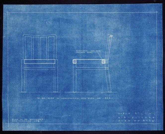 Blueprint - Plans for a chair. Ernst Plischke, 1952.
