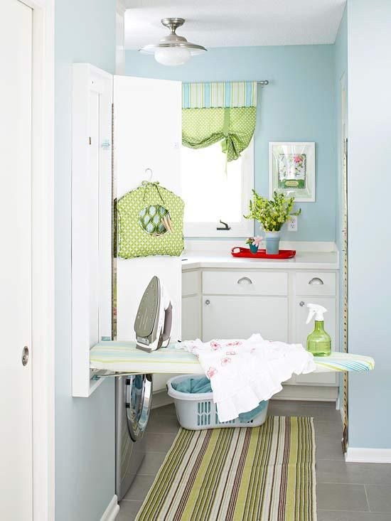 Laundry Room Makeover Ideas for your Mobile Home. So fresh, love the colour choices.