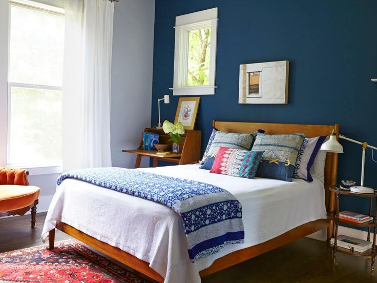 A night sky blue accent wall adds a soothing touch to this master bedroom. #hgtvmagazine http://www.hgtv.com/design/decorating/design-101/19-ways-to-add-character-to-your-house-pictures?soc=pinterest