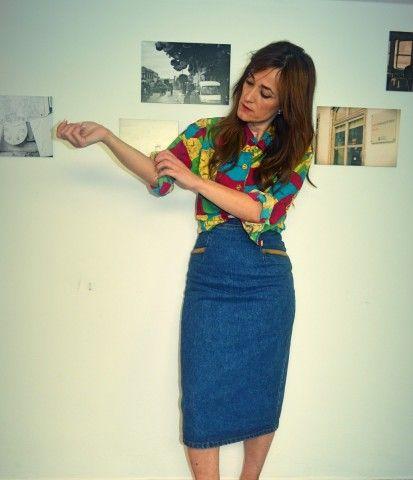 Look con falda de tubo vaquera midi de Picos Pardos Vintage by Eliza Diaz