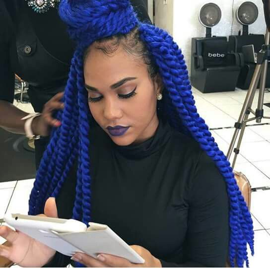 hair style braided electric blue senegalese twist hair it is 4564