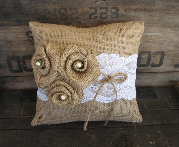 Ring Pillow Burlap Ring Bearer Pillow Wedding Pillow Shabby Chic Rustic Wedding Burlap and Lace on Etsy, $35.00