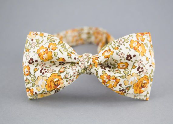 Floral Bow Tie Orange Bow Tie for Men Orange by BartekDesign