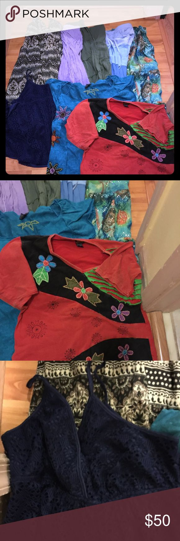 Hippie Bohemian Indian skirts lot and Hippie tops 6 Indian Hippie Skirts and 3 hippie tops Skirts Maxi