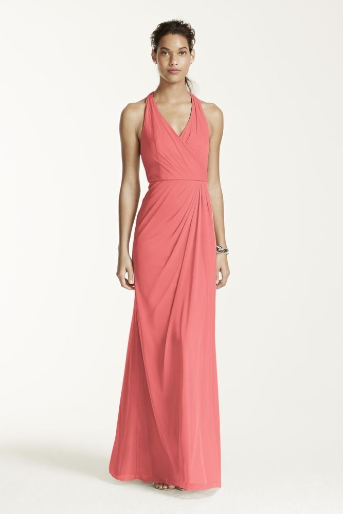 Bridesmaid Dress Long Mesh T-strap Back Halter Style F15983, Coral Reef, 2