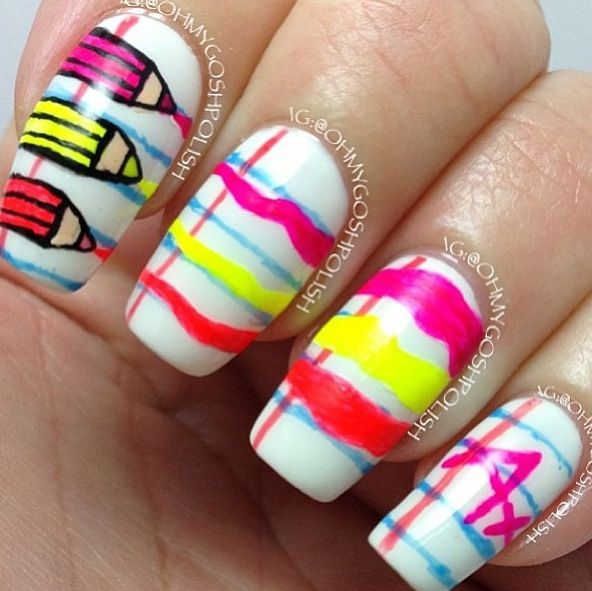 54 best pencil nail art images on pinterest pencil nails nail colored pencils nail art prinsesfo Gallery