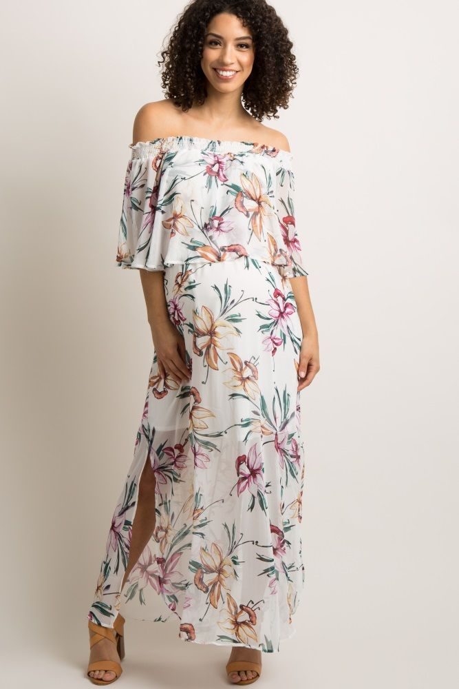 Ivory Floral Chiffon Off Shoulder Ruffle Maternity Maxi Dress  0d7c35358