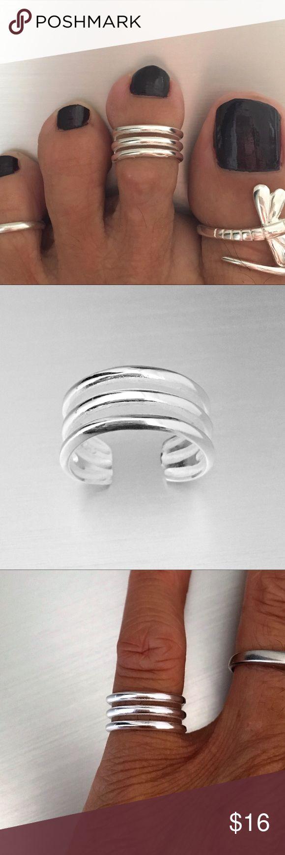 Sterling Silver Cuff Band Toe Ring Sterling Silver Triple Cuff Band Toe Ring, Midi Ring, Pinky Ring, Adjustable Ring, 925 Sterling Silver, PLEASE VISIT MY SITE indigoandjade.com Jewelry Rings