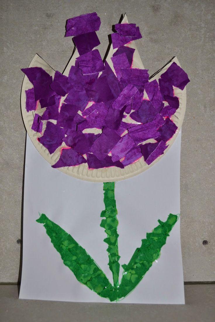 Lolo - knutselen - lily-rose - papieren bord - bloem - lente - kleuter - snippers
