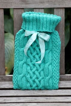 'nancy' cable knit hot water bottle cover (mint) | wowthankyou.co.uk