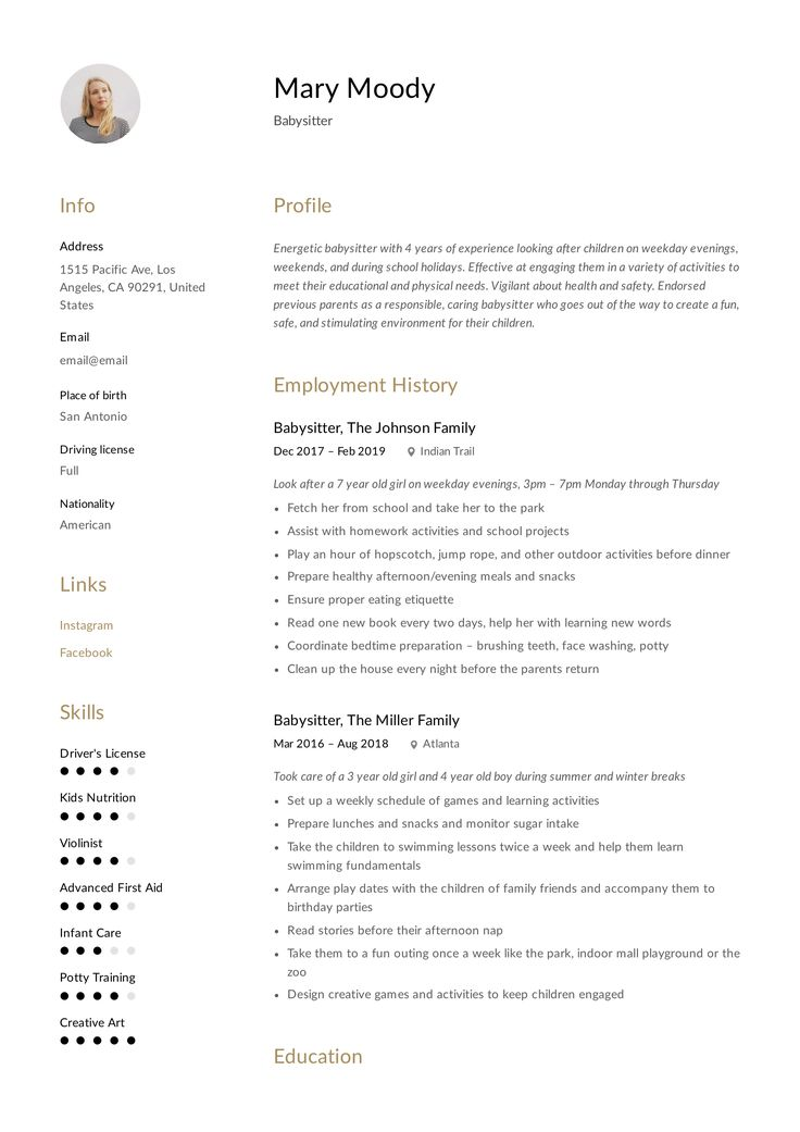 Babysitter resume example writing guide in 2020