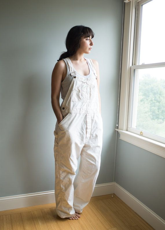 Vintage Painters Overalls / Duck Head White Overalls / Unisex Adult Clothing