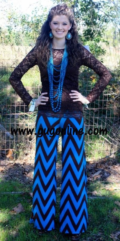 Walk This Way, Talk This Way Brown and Turquoise Chevron Pants