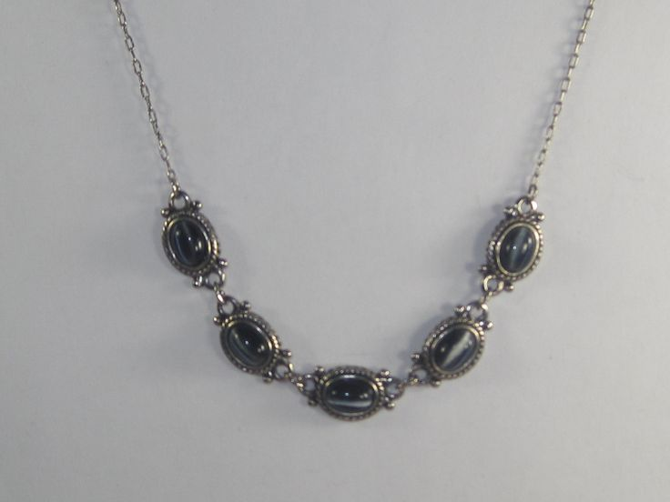 D-10 Vintage  Necklace choker sillimanite cats eye stone by HipTrends2015 on Etsy