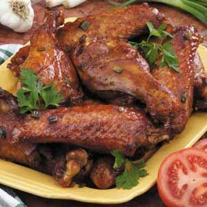Barbecue Turkey Wings Recipe -These moist turkey wings are marinated in a barbecue sauce with garlic,…