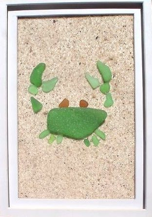 sea glass crab - sand glued to backing (could use spray glue or spray paint)