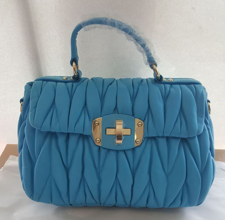 Borsa in vera pelle trapuntata intrecciata blu turchese  bag leathear great Bag