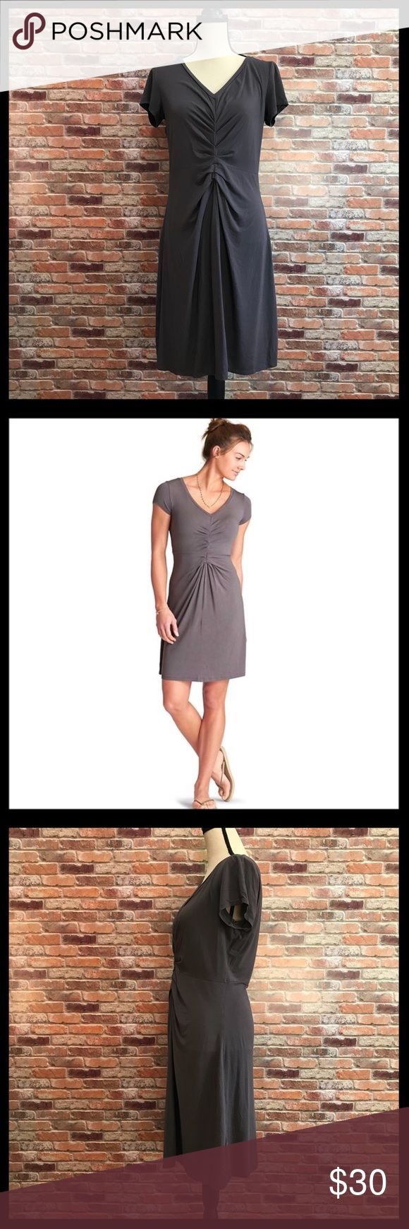 "Athleta Honey Shirred Dress Athleta Honey Shirred Dress in a size large.  Has a v-neck with shirring under the neckline and down the bodice.  Measures approximately 17 1/2"" armpit to armpit, 41"" in length.  94% modal, 6% spandex.  In excellent condition. Athleta Dresses Midi"