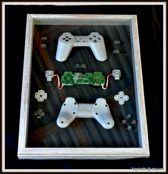 Gamer Art Vintage Playstation Controller Art by kayskrafts on Etsy