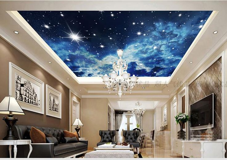 Large 3d star nebula star sky suspended ceiling mural for Ceiling mural wallpaper