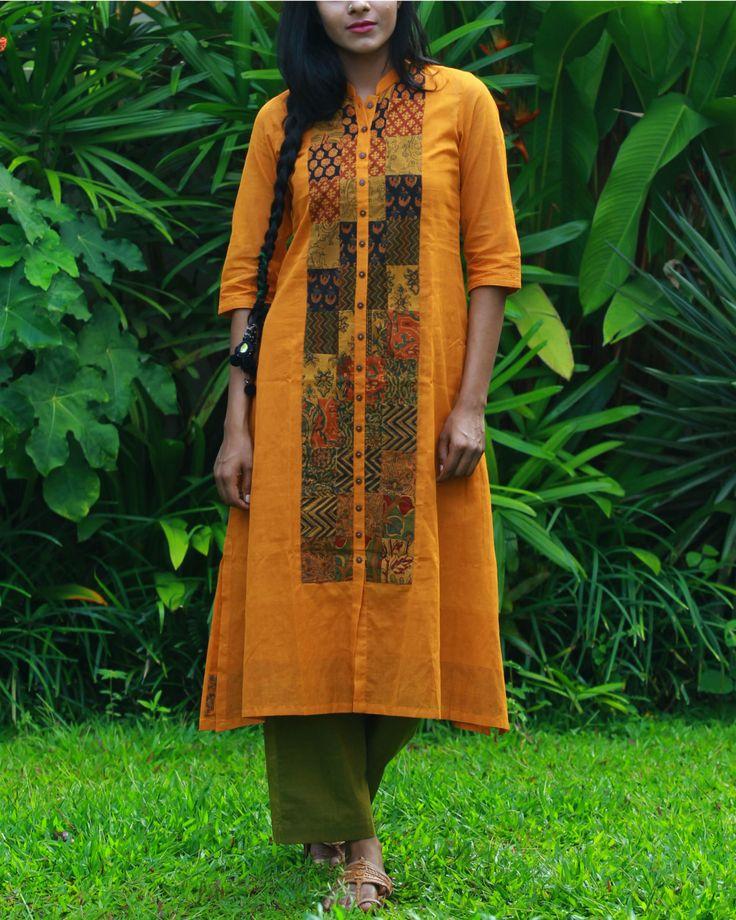 The Secret Label Ochre Yellow Cotton Printed Shirt Style Kurti