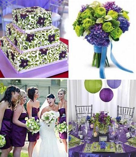 зелено-фиолетовая свадьба